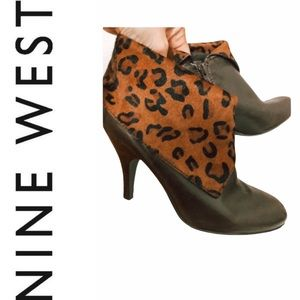Leather booties!! With leopard print